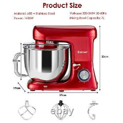 1400W Electric Stand Mixer 6 Adjustable Speed Kitchen Beater with Hooks & 7L Bowl
