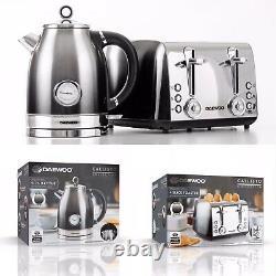 3kw kettle temperture gauge & 4 slice toaster set callisto 2y warranty