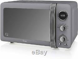 Breville Electric Kettle and 4-Slice Toaster Set & Swan Digital Microwave Grey