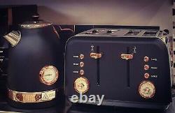 Brooklyn Black & Rose Fast Boil Kettle & Toaster 4 slot Set