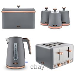 Cavaletto Jug Kettle, 4 Slice Toaster, Bread Bin & Canisters Set Grey/Rose Gold