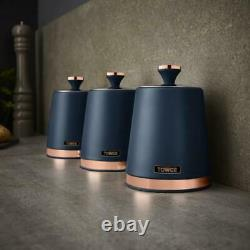Cavaletto Kettle 4-Slice Toaster Bread Bin Canisters Set Midnight Blue/Rose Gold