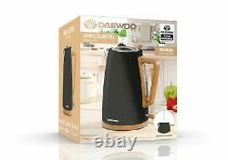 Daewoo Skandia 3KW 1.7L Black With Wooden Effect Cordless Kettle SDA1947 -NEW