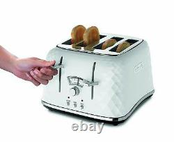 DeLonghi Electric Kettle and Toaster Set Brillante 4 Slice Toaster Kettle White