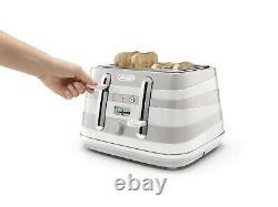 De'Longhi Avvolta KBAC3001W Kettle & CTAC4003W Toaster Set White Moca Stripes
