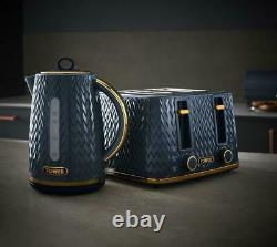 Empire Kettle 4-Slice Toaster Canisters & Bread Bin Set in Midnight Blue & Brass