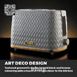 Empire Pyramid Kettle 2 Slice Toaster Bread Bin & Canisters Art Deco Grey&Brass