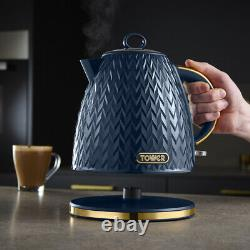 Empire Pyramid Kettle 4-Slice Toaster & Canisters Set in Midnight Blue & Brass