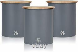 Grey Swan Nordic Combo Set of Microwave Toaster Kettle Storage Set Wood Effect