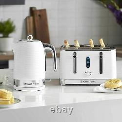 JUG Kettle 4 Slice Toaster & Digital Microwave Set White Russell Hobbs Set New
