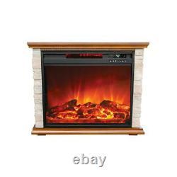 Lifesmart FP1136 Large Room Infrared Quartz Fireplace Zone Heater, Faux Stone