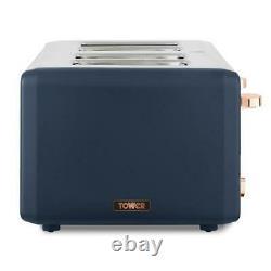NEW Cavaletto 1.7L Pyramid Kettle /4 Slice Toaster Set Midnight Blue & Rose Gold
