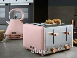 NEW Cavaletto 3KW 1.7L Kettle & 4 Slice Toaster Matching Set in Pink & Rose Gold