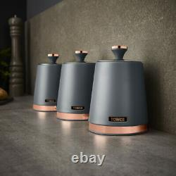 NEW Cavaletto Pyramid Kettle 2 Slice Toaster & Canisters Set of 3 Grey/Rose Gold