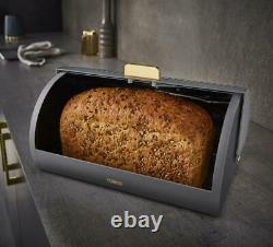 NEW Empire Kettle 4-Slice Toaster, Bread Bin & Tea, Coffee, Sugar Set Grey/Brass