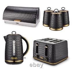 NEW Empire Kettle, 4-Slice Toaster, Canisters & Bread Bin ART DECO Black & Brass