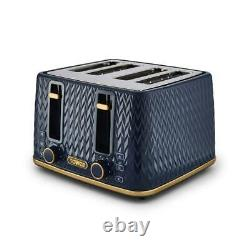 NEW Empire Kettle 4-Slice Toaster Tea Coffee Sugar Canisters Midnight Blue/Brass