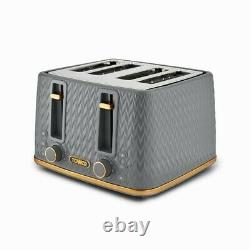 NEW Empire Kettle 4-Slice Toaster & Tea, Coffee, Sugar Canisters Set Grey/Brass