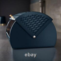 NEW Empire Pyramid Kettle 4-Slice Toaster & Bread Bin Set Midnight Blue & Brass