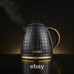 NEW Empire Pyramid Kettle 4 Slice Toaster & Canisters Kitchen Set Black & Brass