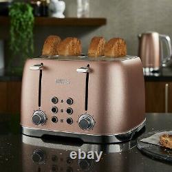 NEW Glitz Blush Pink Glass Kettle 4 Slice Toaster 3 Canisters & Bread Bin Set
