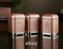 NEW Glitz Blush Pink Kettle 4 Slice Toaster 3 Canisters Bread bin Matching Set