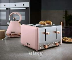 NEW Kettle 4 Slice Toaster Bread Bin & Canisters Matching Set Pink & Rose Gold