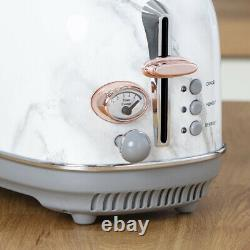 NEW Marble Rose Gold Kettle 2 Slice Toaster Microwave & Canisters Matching Set