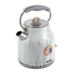 NEW Rose Gold/White Marble Kettle, 4 Slice Toaster, Bread Bin & Canisters Set