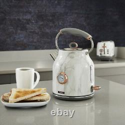 NEW Rose Gold & White Marble Kettle, 4 Slice Toaster & Canisters Matching Set