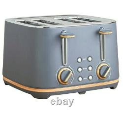 NEW Scandi-inspired 4 slice toaster and kettle Set Grey & Wood effect