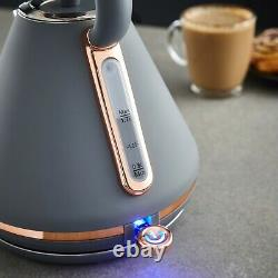 NEW Tower Cavaletto 1.7L Pyramid Kettle & 4 Slice Toaster Set in Grey/Rose Gold