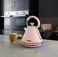 NEW Tower Cavaletto Kettle, 4-Slice Toaster & Bread Bin Set in Pink & Rose Gold