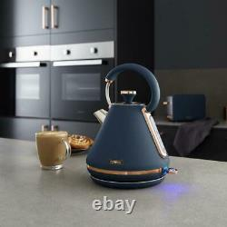NEW Tower Cavaletto Pyramid Kettle 4 Slice Toaster Canisters Set Blue/Rose Gold
