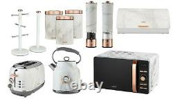 Rose Gold 11-Piece Kitchen Tower Marble Set Kettle Toaster Microwave Storage Set