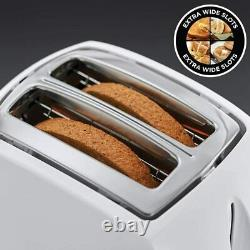 Russell Hobbs Textures 2 Slice Wide Slot Toaster & 1.7L Kettle Set In White