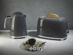 SMEG Grey Retro Kettle & 2 Slice Toaster KLF03GRUK & TSF01GRUK 2Y Warranty
