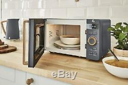 Swan Microwave and Jug Kettle & Toaster Set Wood Effect Nordic Slate Grey