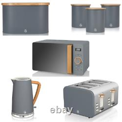 Swan Nordic Grey Kitchen Set Kettle 4 Slice Toaster Microwave Breadbin Canisters