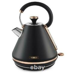 Tower Cavaletto Pyramid Kettle 4 Slice Toaster & Canisters Set Black & Rose Gold
