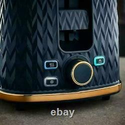 Tower Midnight Blue Empire Textured 2 Slice Toaster& 1.7L Jug Kettle Set -NEW