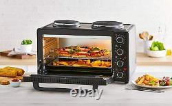 Tower T14045 42L Mini Oven with Hot Plates, 90 Min Timer, Black Brand New